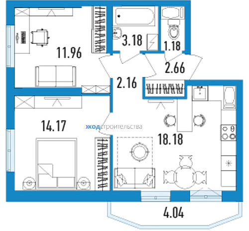 ЖК Йога - двухкомнатная квартира